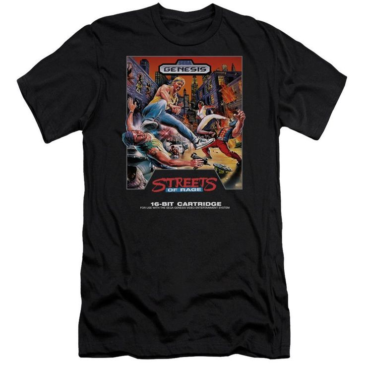 Go retro with this Streets of Rage 16 Bit Black Tee. This 100% preshrunk cotton tee features the street brawlers in action. Printed in Michigan, USA.