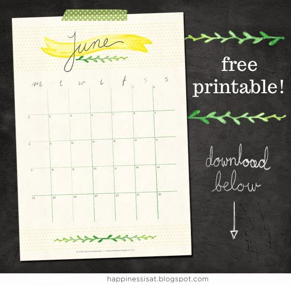 Free to download and print: June 2013 calendar printable by Happiness is...