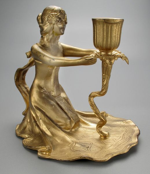 French 20th Century Gold Gilt Chamberstick