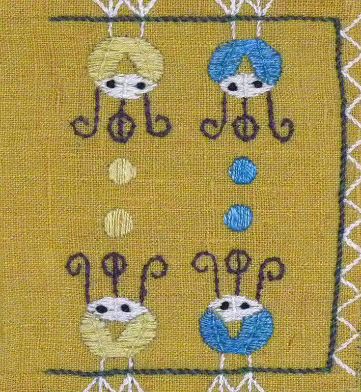 """Broderi """"Påsktupp"""" design Ingrid Skerfe-Nilsson, 1955"""