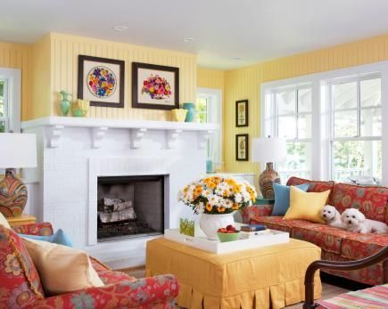 How To Decorate With Color Yellow WallsYellow RoomsWhite Living