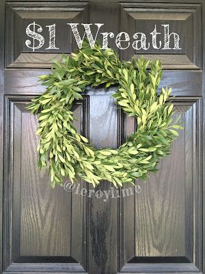 Easy $1 Greenery Wreath
