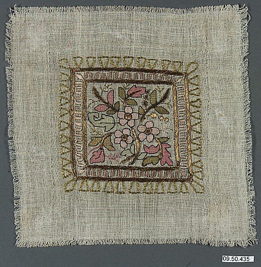 vvv Square Date: 19th century Geography: Turkey Culture: Islamic Medium: Linen, silk, and metal wrapped thread; plain weave, embroidered