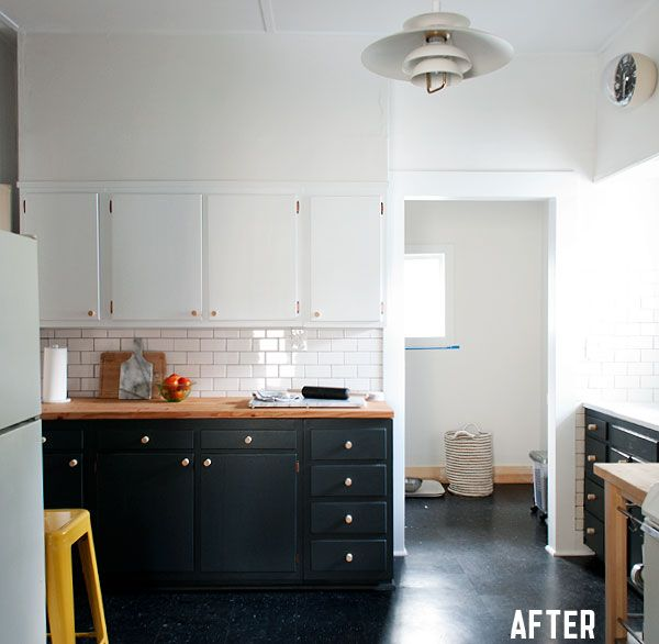 Black Kitchen Cabinets Paint Color: Painted Kitchen Cabinets 2 Different Colors Base And Upper
