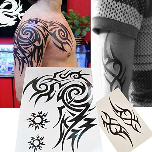 Kotbs 2 Sheets Waterproof Large Temporary Tattoos Men Tribal Totem Tattoo Sticker Make up Body Art Fake Tattoo  2 Sheets Large Totem Tattoos; Big sheet measures 7.9 inch by 10.6inches.  Lasts for 2 to 5 days. Waterproof & removable, Quick and easy to apply.  Safe and non-toxic; Meet rigid safety and NON-TOXIC materials standard.  Gorgeous, realistic tattoos for wrist, hand, finger, ear, ankle, leg, back, arm, collarbone, rib, neck, foot, & face.  Very good Choice as temporary tattoo, b...