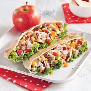 Pita au poulet, pomme, cheddar et canneberges - Recettes - Cuisine et nutrition - Pratico Pratique