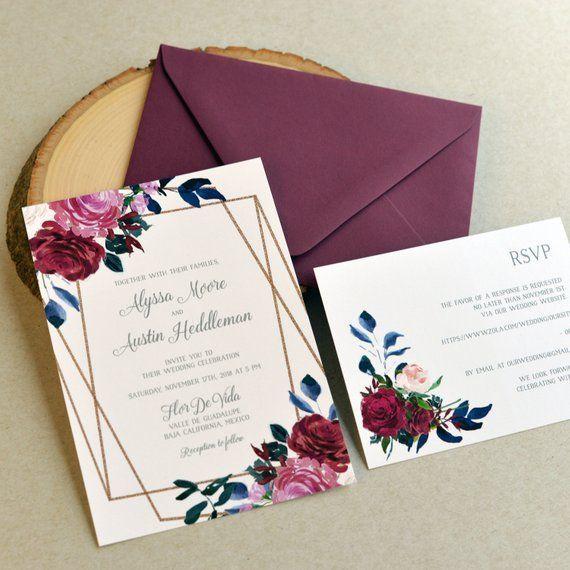 Geometrische Blumen Hochzeitseinladung Set Aquarell Kunstwerk