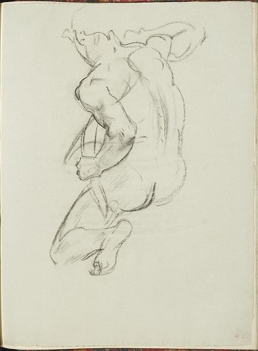 """John Singer Sargent - Study for Second Angel from Left, """"Israel and the Law,"""" Boston Public Library"""