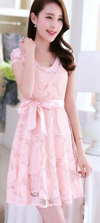 A-line Lace Dress Waist Bow-tie YRB0059