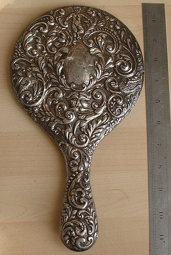 Antique hand mirror: Antiques Silver, Silver Hands, Antiques Mirror, Chester 1903, Edwardian Silver, Antiques Hands, Hands Mirror, Mirror Chester, Antiques Edwardian
