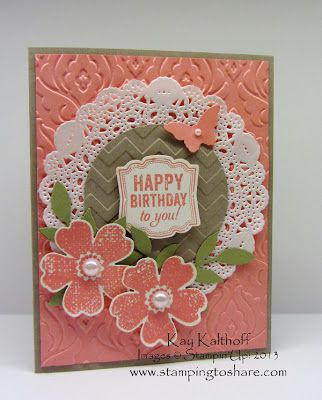 Kay Kalthoff is Stamping to Share with Stampin' Up! Elegant Flower Shop Card with a How To Video Tutorial!; Pansy punch, paper doily, chevron embossing folder