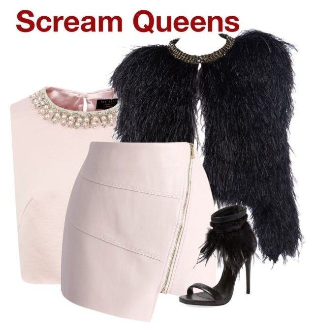 """Scream Queens"" by hestiarocks ❤ liked on Polyvore featuring Ted Baker, Givenchy, Chicwish and Schutz"