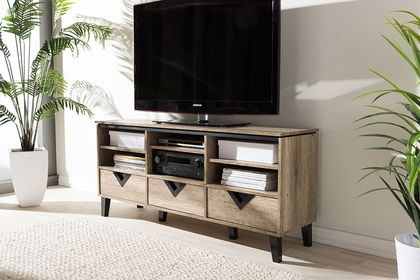 Baxton Studio Wales Light Brown Wood 55-Inch TV Stand