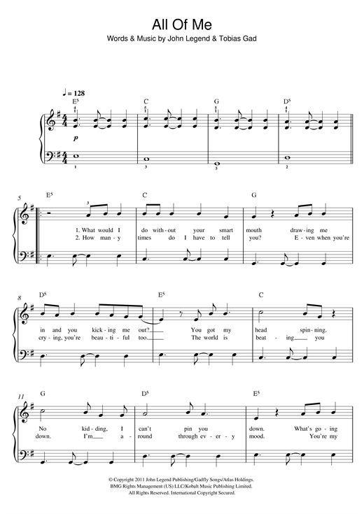 John Legend: All Of Me - Partition Piano Facile - Plus de 70.000 partitions à imprimer !:
