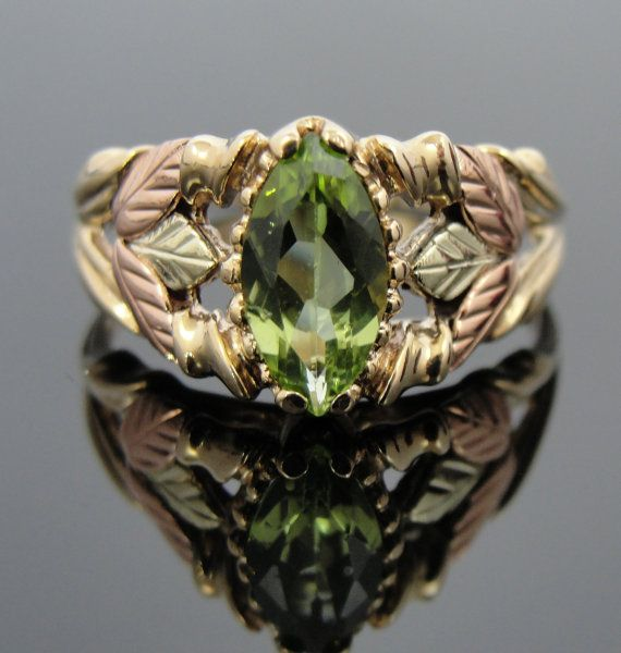 Black Hills Gold Vintage Leaf Ring with Marquis Cut by MSJewelers, $485.00
