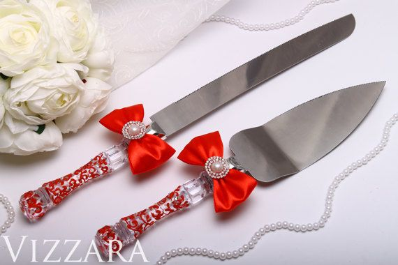 Wedding Cake Server and Knife Red Hand-PAINTED - ENGRAVING Wedding Cake Knife and Server Red Wedding Cake Server Set Knife wedding set red