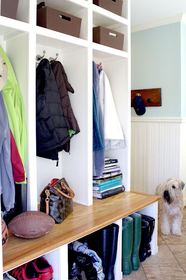 Don't miss this Home Renovation:  the most efficient Mudroom/Charging Station!  Paint color - BM Palladian Blue