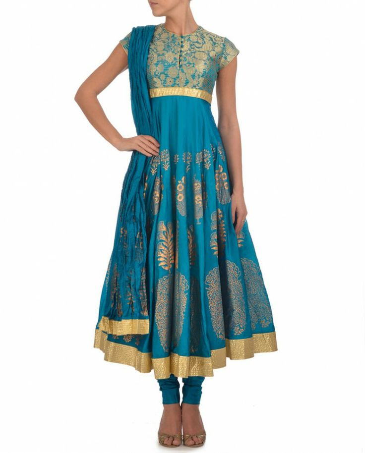 Turquoise Green Anarkali Suit with Golden Motifs by Rohit Bal K: I was looking for something like this.... Didn't find one :(