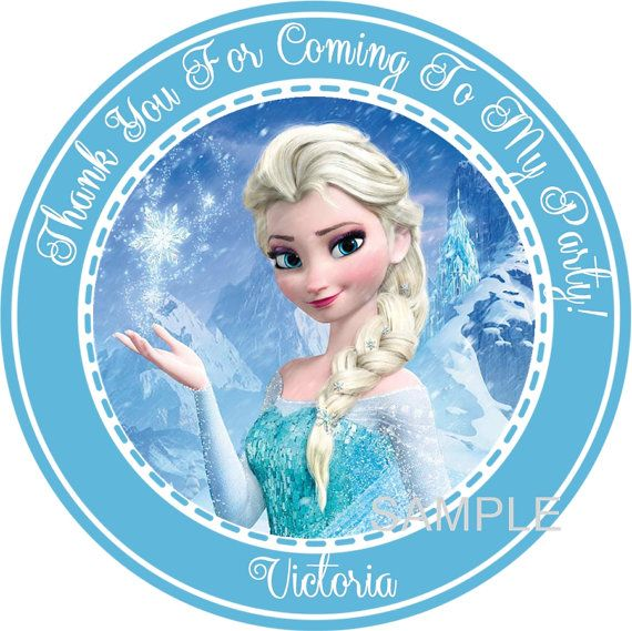 Disney Frozen Round Favor Stickers - You Choose Size - Disney Frozen Birthday Party