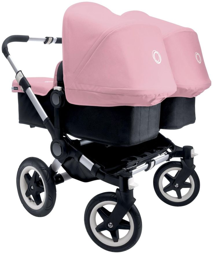 The Bugaboo Donkey Complete Twin Stroller in soft pink is adorable and practical! Converts from a mono to a duo stroller in just a few clicks.