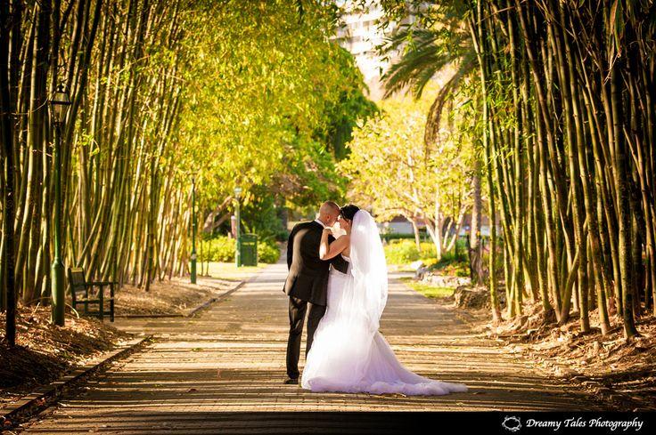 Bridal Shoot of Bride and Groom in Brisbane Botanical gardens. #wedding #bride #groom #veil #brisbane #botanicalgardens #bridalshoot #photography #weddingphotography #weddingdress #dress #suit #portrait #love