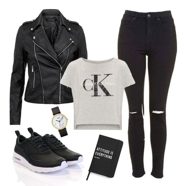 Outfit of the day  #ootd × Loavies faux leather jacket × Calvin Klein t-shirt from De Bijenkorf × Topshop high waisted jeans from Wehkamp × Nike Air Max Thea from Donelli × Notebook from Nola Nova × Cluse marble watch   ❤ www.swipenshop.nl ❤