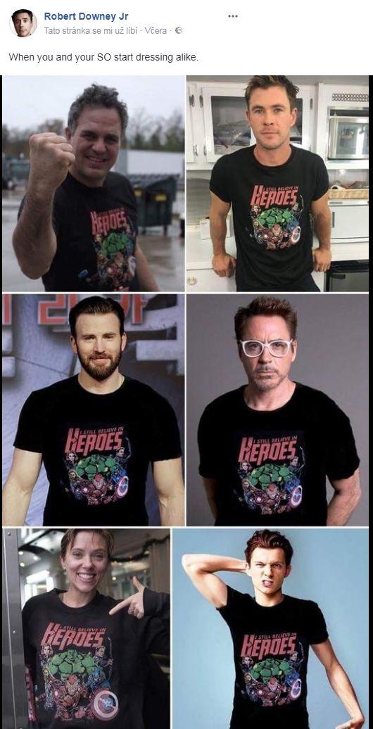 Avengers all wearing avengers t shirts. I want that shirt!!!!