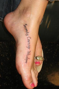 My next tattoo will be something like this. I like how it curves with the foot! Then I'm planning to have a butterfly around the text.
