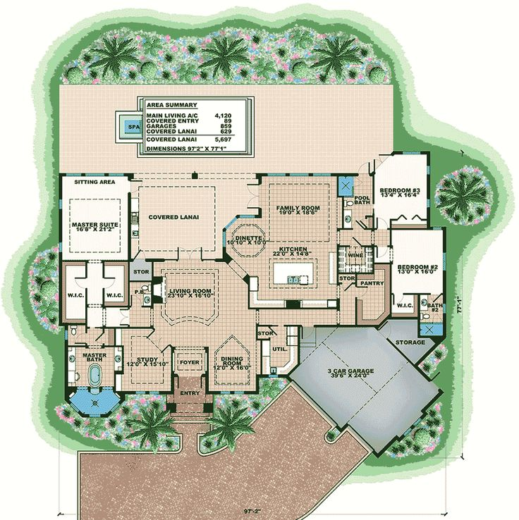Plan 66379we high end florida house plan florida house for High end home plans