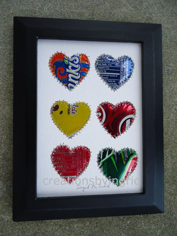 Soda Can Art Recycled Art HEARTS 5 x 7 by creationsbyingrid1, $15.00