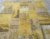 Beautiful yellow rug. Turkish patchwork carpet.