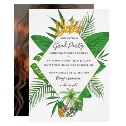 Watercolor Aloha Luau Graduation Party Add Photo Card