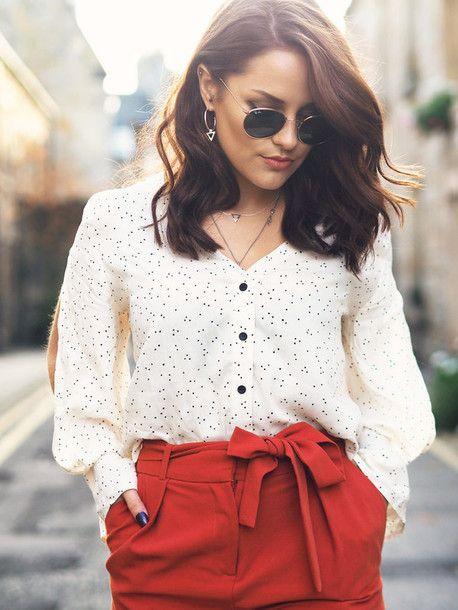 Shirt: tumblr white polka dots pants red pants high waisted pants sunglasses rayban earrings silver