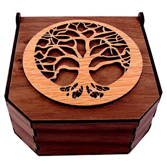Boîte en bois durable - arbre de vie - chêne sur noyer - boîte à bijoux