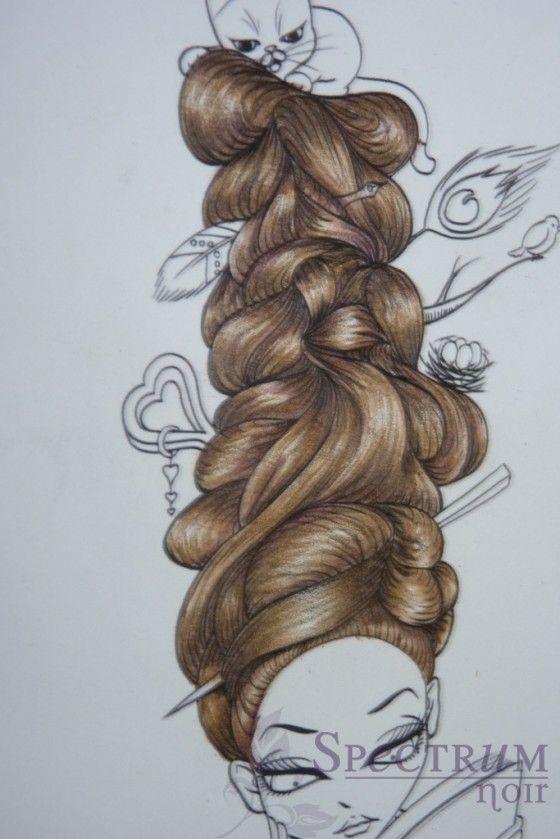 Colouring hair using Spectrum Noir Pencils by Linda Hill. #SpectrumNoirpencils #theeastwind #hairtutorial.