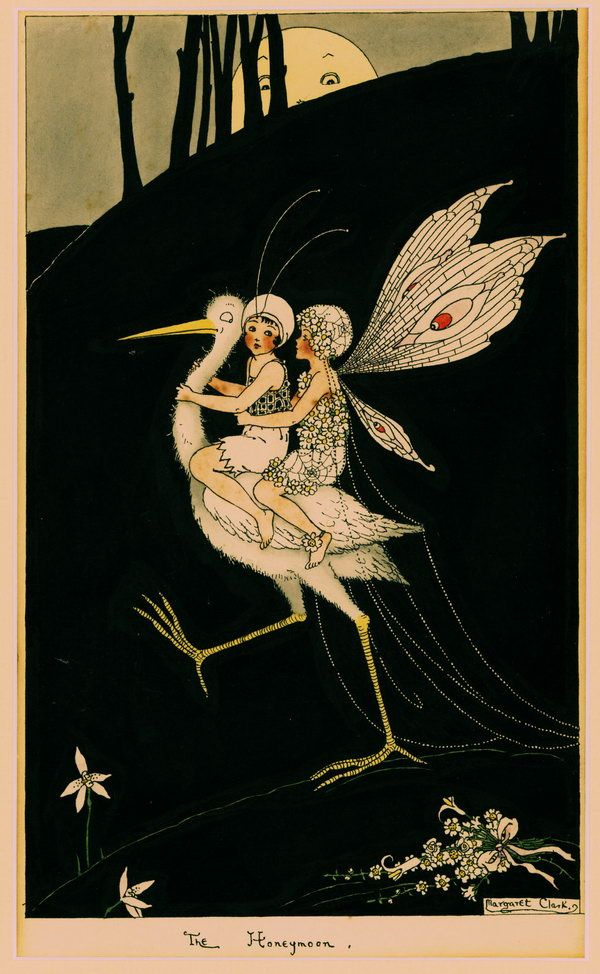 Fairies by Margaret Clark, Australian painter and illustrator, born in 1901. Commissioned in 1918 to decorate confectionery boxes for the firm of Sweetacres