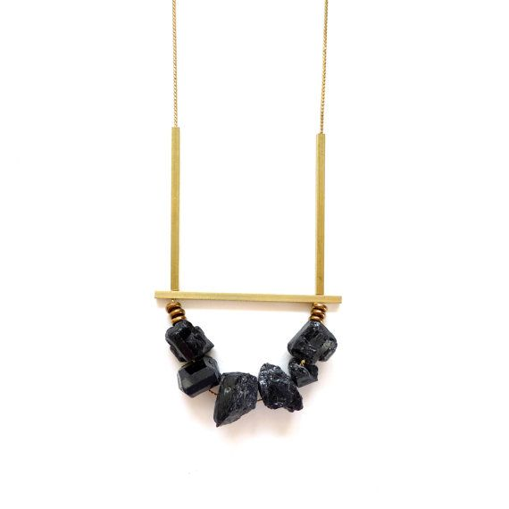 Six raw black tourmaline stones on a vintage brass chain with thin square brass bars | Sarah Safavi Jewelry