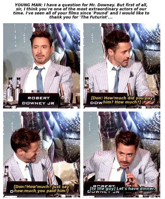 Robert Downey Jr. answers a fan's question (and gets ribbed by Don Cheadle) at an Iron Man 3 press conference.