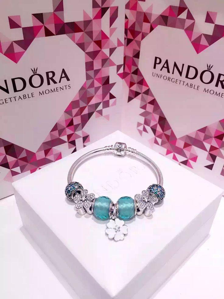 50% OFF!!! $199 Pandora Charm Bracelet Green White. Hot Sale!!! SKU: CB01562 - PANDORA Bracelet Ideas