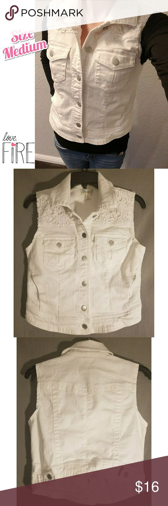 LIKE NEW White Denim Vest Great condition, basically new size medium white denim vest by Love, Fire from Nordstroms.  Never worn out & about, only tried on. Put into storage for a move & forgotten about. Perfect condition, no rips, holes, or stains.  All white demin with silver buttons, the top portion has floral lace style detailing, super cute. Made of thick good quality denim.  Originally purchased about a year ago for $34.99 from Nordstroms. Priced to sell!  Reasonable offers always…
