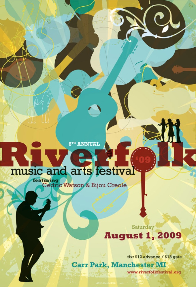 Riverfolk Music & Arts Festival Poster. Love the use of color and sense of movement! By Barbara Rose Zuckerman (bzdesignstuff); artist retains all rights to work.