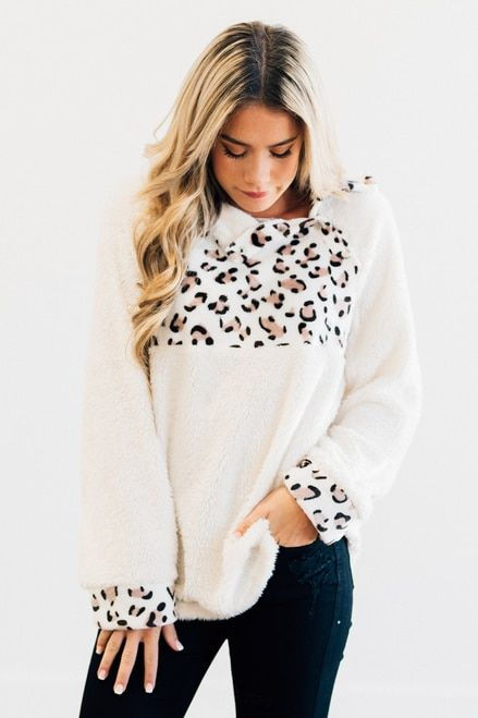 Leopard Sherpa Pulloveranimal Print Pullover Snap Button