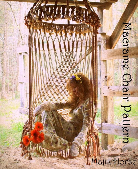 Vintage Style Handmade Macrame Hanging Chair by MajikHorse on Etsy