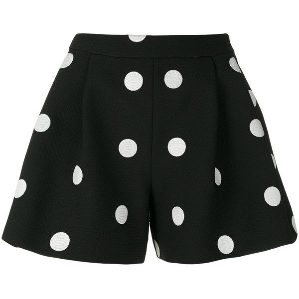 Boutique Moschino polka dot shorts ($286) ❤ liked on Polyvore featuring shorts, black, boutique moschino, polka dot shorts and dotted shorts