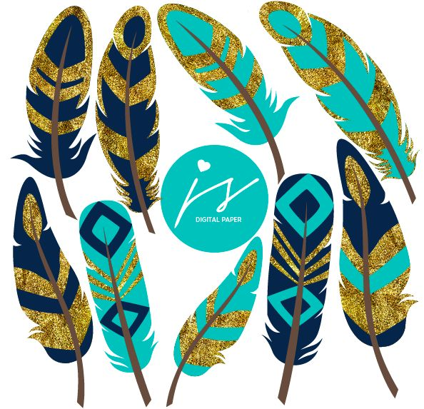 Navy Blue Turquoise Gold Glitter Feather Clip Art, GO-03