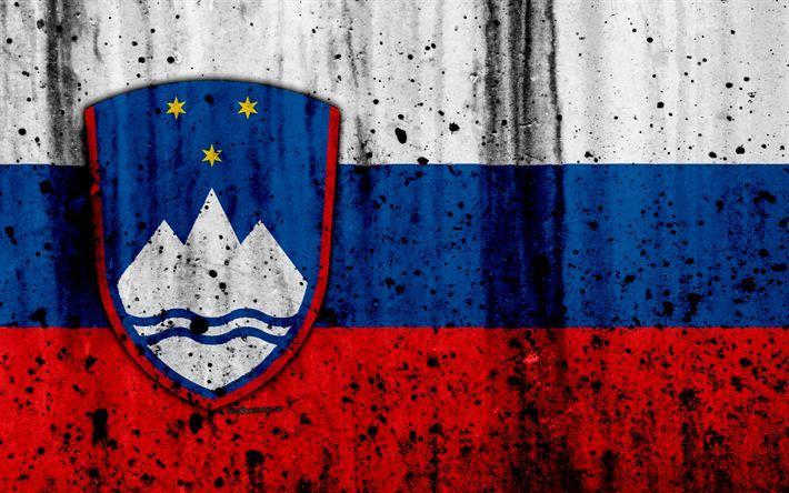 Download wallpapers Slovenian flag, 4k, grunge, flag of Slovenia, Europe, Slovenia, national symbolism, coat of arms of Slovenia, Slovenian coat of arms