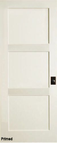 Contemporary 3 flat Panel Interior Door (Primed)