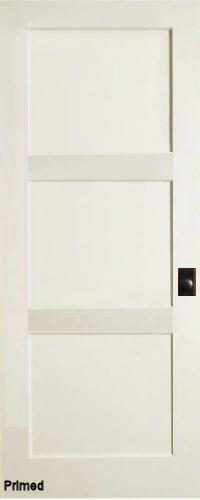 Contemporary 3 flat Panel Interior Door (Primed)