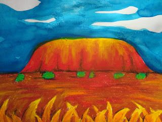 Uluru pastel and watercolour art - Great for an art activity around Australia Day (Aussie icons) and Term 1 Year 4 science unit on erosion.