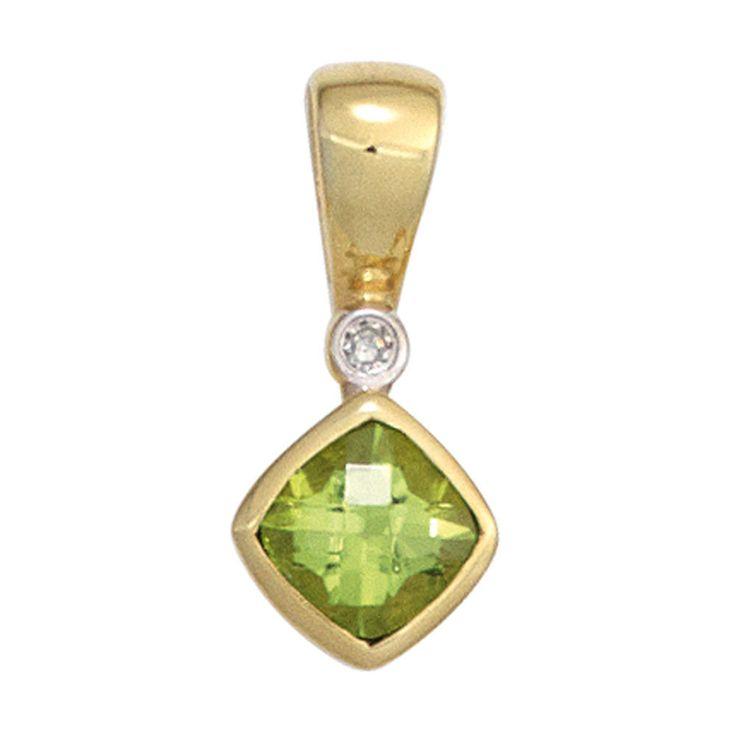 Anhänger 333 Gold Gelbgold 1 Peridot 1 Diamant 0,01ct. 1 Peridot grün A32759